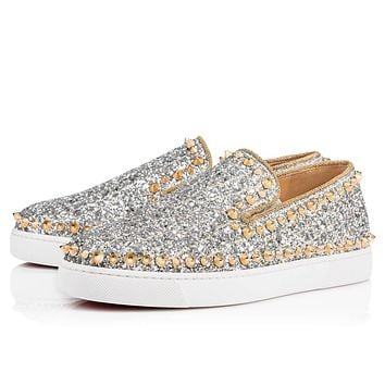Christian Louboutin Cl Pik Boat Woman Flat Silver/light Gold Glitter 18s Sneakers 1180553s017 -