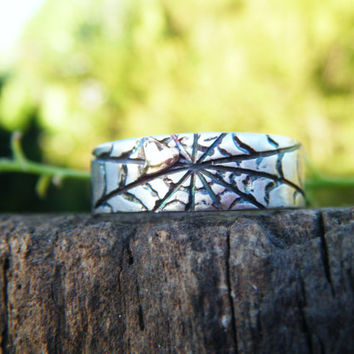SPIDER WEB RING, spider ring silver, web heart ring, halloween ring, halloween spider, halloween gothic ring, ecofriendly recycled silver