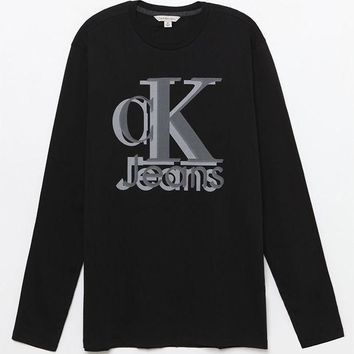 ESBONDI5 Calvin Klein Retro Logo Long Sleeve T-Shirt