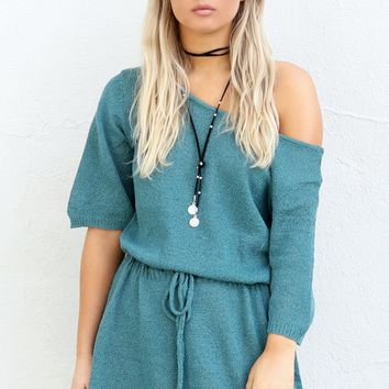 Bitter Sweet Teal Off Shoulder Knit Dress