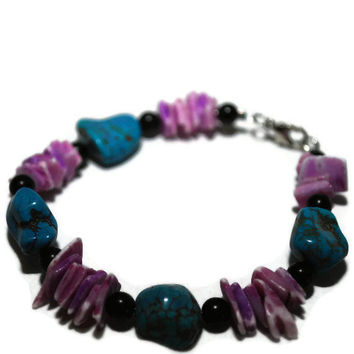 OOAK Turquoise nugget and Purple Shell beaded bracelet by chumaka