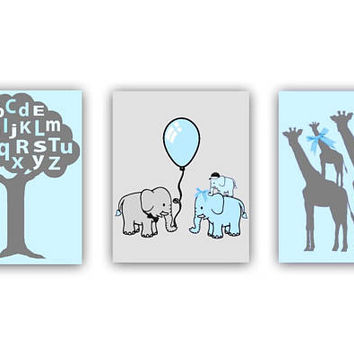 Safari Nursery Wall Art, Animals Nursery Decor, Elephants Family, Alphabet, Giraffe Family, Zoo Nursery Wall Decor, Aqua Blue Nursery decor