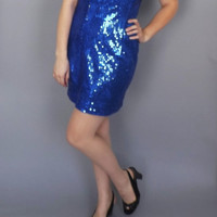 Vintage Electric Blue Sequin Dress Retro 1980s Prom Gown New Years Eve Dress Beauty Pageant Sequin America  Rockette Punk Cocktail dress