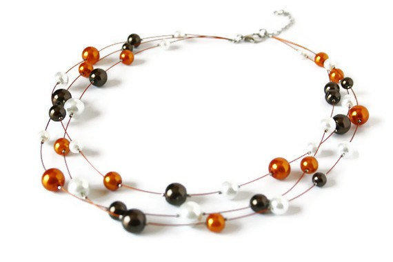 Three Strands Suspension Necklace. Beaded Necklace in Orange, Brown and White. Fall Fashion