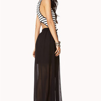 Cutout Striped Maxi Dress