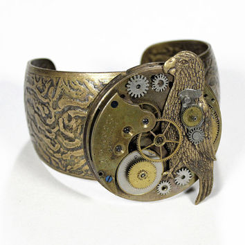 Steampunk Cuff Vintage Brass Pocket Watch by edmdesigns on Etsy