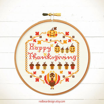 Thanksgiving cross stitch pattern - Happy Thanksgiving / Fall, Y'all - Xstitch Instant download - Funny Turkey Pumpkins nuts for sweet home