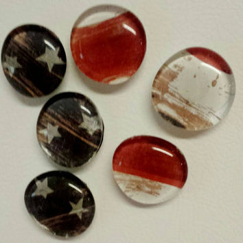 Rustic American Flag Magnets (Set of 6)