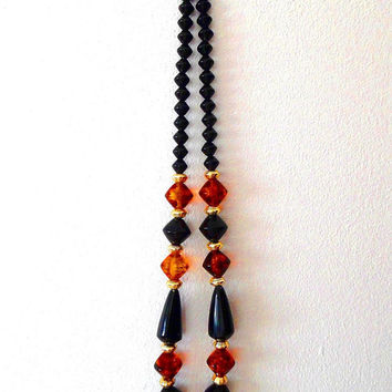 Black and amber bicone bead necklace / orange / vintage / retro / metal / gold tone / beaded / acrylic / gift / statement bit necklace