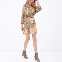 Champagne Print Sleeve A-Line Chiffon Dress