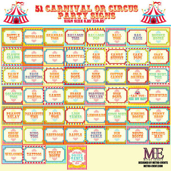 51 Party Signs: Carnival Signs, Circus Signs, Instant Download, Circus or Carnival Birthday Signs