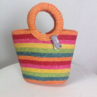 Vintage Rainbow Straw Tiki Tote Bag O Shaped Top Handle