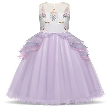 Unicorn Dress Baby Girls 3 7 8T Prom Girl Dress Ceremony Party Wear Princess Dancing Costume Children Tulle Summer Vestidos 2018