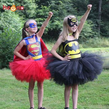Superman Batman Girls Tutu Dress with Mask Super Hero Inspired Baby Costume Kids Cosplay Christmas Halloween Tutu Dress