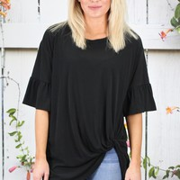 Get Twisted Ruffle Sleeves Modal Top {Black}