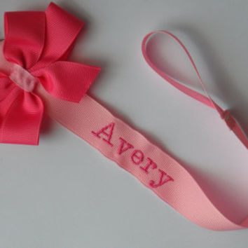 Monogram Pacifier Holder Baby Boy or Girl Personalized Baby Soothie Clip Nuk Paci Baby shower gift