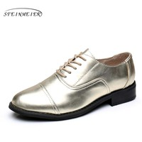 Genuine leather big woman size 10 designer vintage shoes round toe handmade golden 2017 oxford shoes for women with fur