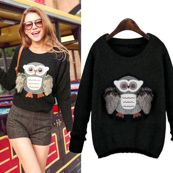 Lovely Owl Knitted Sweater Pullover