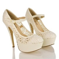 Sully's Women's Crochet Mary Jane Platform Pumps Beige 7.5