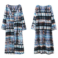 Long Sleeve Printed Button Down Loose Fit Dress