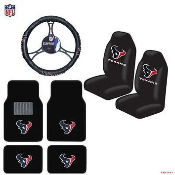 Licensed Official NFL Houston Texans Car Truck Seat Covers Floor Mats Steering Wheel Cover