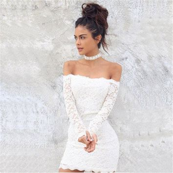 LMFUNT Gagaopt 2016 Sexy Strapless Woman Dress Lace Embroidery Quality Bodycon Dress Formal Party Wear Vintage Lace Hollow Out Dress