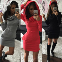 Winter Hats Hoodies Dress Long Sleeve Slim One Piece Dress [6050454273]