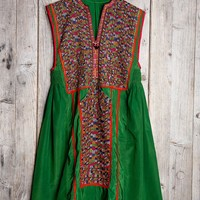 Vintage Green Dream Embroidered Dress - Urban Outfitters