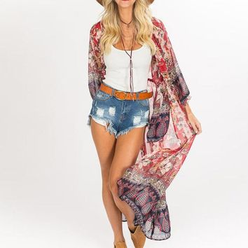 Cover ups Bikini Floral Print Bohemian Chiffon Kimono Cardigans Blouse Long  Beach Cover Women For Female #15 KO_13_1