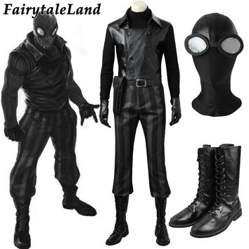 Spider-Man Noir Cosplay Costume Custom made Carnival Halloween Costume Cosplay Spider-man Black costume Mask Noir suit