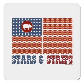 """American Bacon Flag - Stars and Strips 4x4"""" Square Sticker"""