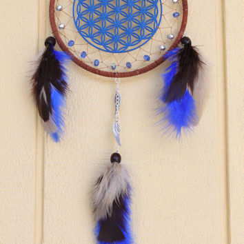Mini Flower of Life Dream Catcher- 6 in- Blue, Brown and Tan Feathers- Seed of Life- Angel Wings