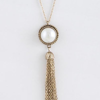 LARGE PEARL WITH TASSEL DROP LONG NECKLACE SET