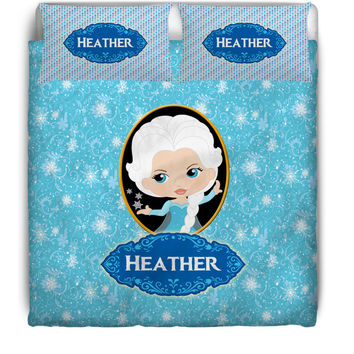 Queen Elsa Monogrammed / Personalized Duvet Cover or Comforter Set