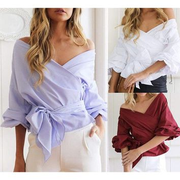 Women Long Sleeve Loose Blouse Casual Shirt Summer Chiffon Tops V-neck T-Shirts
