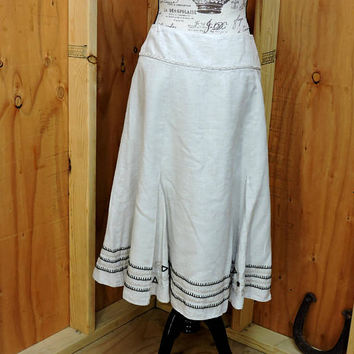 Linen skirt / plus size 16 / 18 1X 2X  / Chico's natural linen embroidered  skirt / boho long linen  beige skirt