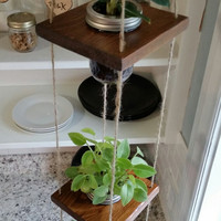 Hanging Wood Mason Jar Planter (Mason Jars Included)