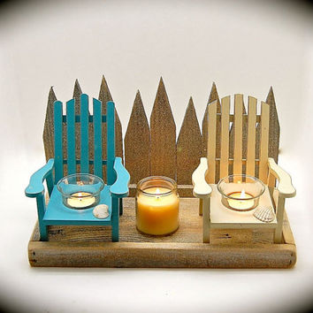 "Tea light candle holder-Two Adirondack Chair and Picket Fence- Reclaimed Cedar & Pine 8.25"" Tall x 13"" Across x 7.25"" Front to Back UNIQUE !"