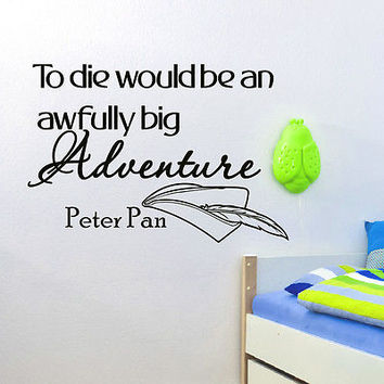 WALL DECAL VINYL STICKER PETER PAN QUOTE TO DIE WOULD BE BEDROOM DECOR SB45