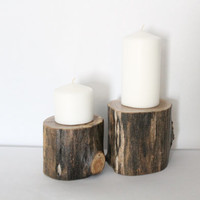 Rustic Candle Holder Set: Sustainable Timber Candle Stand, Pillar Candle Holder, Modern Rustic Wedding, Rustic Home Decor, Eco Friendly Wood