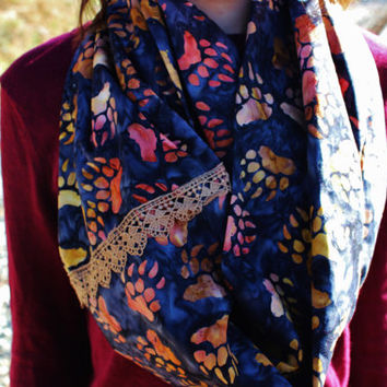Ombre Bear Claw Tracks Infinity Scarf with Cinnamon Lace Trim Accent and Blue Watercolor Background-Animal Prints, Red, Orange, Yellow