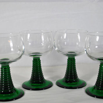 Stemware White Wine Glasses Emerald ,  Clear Crystal Luminarc Rhin Set of 4 Glasses