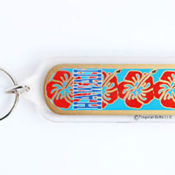 HOT VINTAGE HAWAII/ HIBISCUS KEYCHAIN, COLLECTABLE ITEM, 60s - 70s, USED