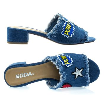 Wisely Blue Jean Denim By Soda, Graphic Emoji Embroidery Stitch Patch Work On Low Block Heel Slide Sandal