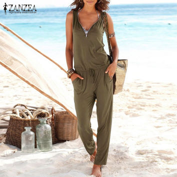 2016 Women Summer Sexy Beach Party Solid Rompers Casual Long Jumpsuit Plus Size Deep V Neck Zipper Sleeveless Slim Coveralls