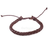 Fashion Adjustable Leather String Bracelet-Brown at online cheap fashion jewelry store Gofavor