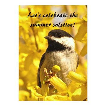 Chickadee and Yellow Flowers Summer Solstice Party 5x7 Paper Invitation Card
