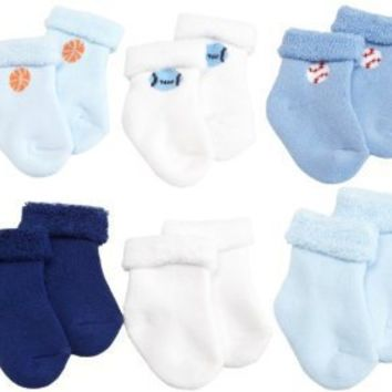 Gerber Baby-Boys Newborn 6 Pack Variety Cozy Socks