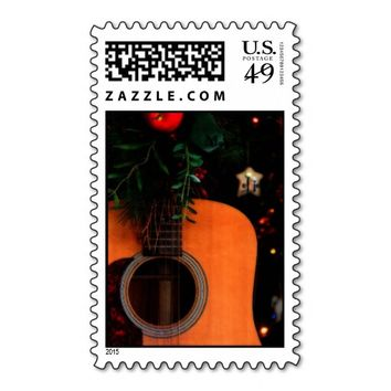 Christmas Acoustic Guitar Postage Stamps
