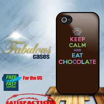 iPhone 4, 4s, 5 - Keep Calm and Eat Chocolate - Hard Case Cover   - iPhone